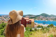 Free Europe Travel Woman Looking At Dubrovnik Town From Viewpoint, Croatia, Europe Stock Images - 154591854