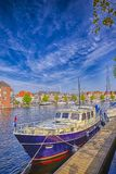 Europe Travelling Concepts. Attractive Travel Boat On Channel Royalty Free Stock Image
