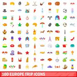 100 europe trip icons set, cartoon style. 100 europe trip icons set in cartoon style for any design illustration vector illustration