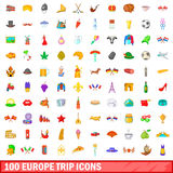 100 europe trip icons set, cartoon style. 100 europe trip icons set in cartoon style for any design vector illustration Royalty Free Stock Image