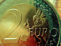 Europe on the two-euro coin royalty free stock image