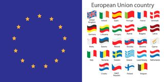Europe Union countries flags set Royalty Free Stock Photo