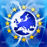 Europe Union Flag and Stars. An image for the concept of the European Union featuring the western and central parts of Europe and twelve yellow stars which are Royalty Free Stock Photo