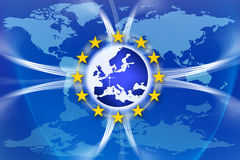 Europe Union Flag and Stars. An image for the concept of the European Union featuring the western and central parts of Europe and twelve yellow stars which are Royalty Free Stock Photos