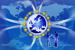 Europe Union Flag and Stars. An image for the concept of the European Union featuring the western and central parts of Europe and twelve yellow stars which are Stock Photos