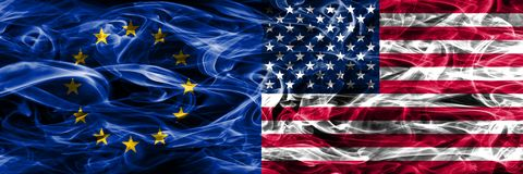 Europe Union and United States of America colorful concept smoke flags placed side by side. Europe Union and United States of America colorful concept smoke vector illustration
