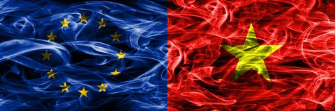 Europe Union and Vietnam colorful concept smoke flags placed sid. E by side royalty free illustration