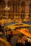 Europe, United Kingdom, England, Lancashire, Manchester, Albert Square, Christmas Market & Town Hall. View of Albert Square Christmas Market & Town Hall in royalty free stock image