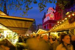 Europe, United Kingdom, England, Lancashire, Manchester, Albert Square, Christmas Market & Town Hall Royalty Free Stock Image