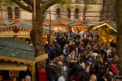 Europe, United Kingdom, England, Lancashire, Manchester, Albert Square, Christmas Market. View of Albert Square Christmas Market Manchester, Europe, United stock photo