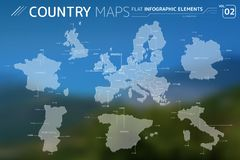 Europe, United Kingdom, France, Portugal, Spain, Italy and Germany Vector Maps. Flat vector maps collection with infographic elements royalty free illustration