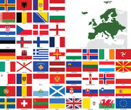 Europe Vector Flags and Maps Royalty Free Stock Photos