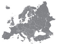 Europe vector high detailed political map with regions borders. All elements separated in detachable layers. Europe vector high detailed political map with Royalty Free Stock Image