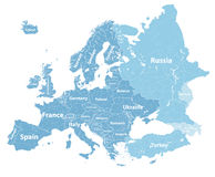Europe vector high detailed political map with regions borders and countries names. All elements separated in detac Stock Images