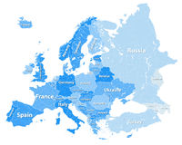 Europe vector high detailed political map with regions borders in tints of blue with countries names Stock Photo