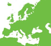 Europe vector map. Europe outline green vector map vector illustration