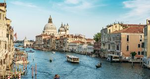 Europe. Venice. Italy. A view of the Basilica and the Grand canal timelapse in 4K