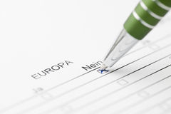 Europe vote no with green pen Stock Images