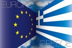 Europe vs greece flag. Original  graphic elaboration european flag vs greece flag Stock Photos
