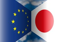 Europe vs Japan flags, illustration Stock Photography