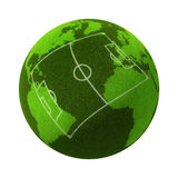 Europe vs South America. 3d Grassy Globe with football/soccer field Royalty Free Stock Photo