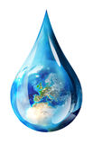 Europe in water drop. Isolated Stock Image