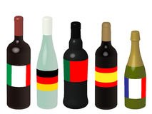 Europe Wine Bottles with Flags 3D Royalty Free Stock Photos