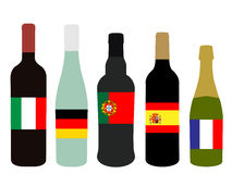 Europe Wine Bottles with Flags Stock Photos