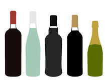 Europe Wines Full Bottles Illustration Stock Photography