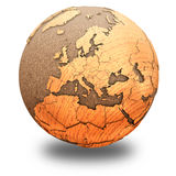Europe on wooden planet Earth Royalty Free Stock Photo