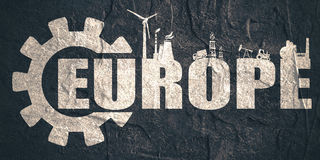 Europe word build in gear Royalty Free Stock Image