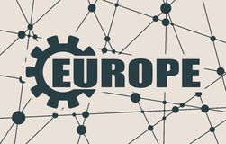 Europe word build in gear Stock Photography