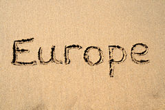 Europe, written on a beach. Royalty Free Stock Photo