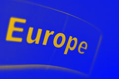 Europe written on a blue background Stock Images