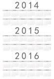 European 2014, 2015, 2016 Year Vector Calendar Stock Image