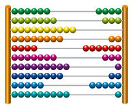 European abacus counting frame. Calculating tool with rainbow colored beads sliding on wires. Used in pre- and in elementary schools as an aid in teaching the Stock Photo