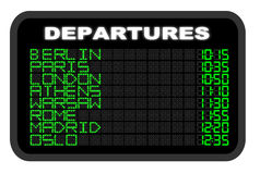European Airport Departure board Stock Photo
