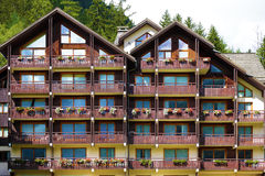 European alpine ski resort chalet hotel, front view Royalty Free Stock Photos