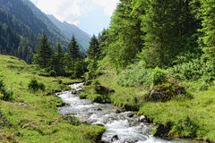 European alps landscape of Schwarzachtal valley in Zillertal (Au Royalty Free Stock Photos