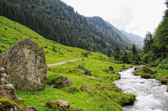 European alps landscape of Schwarzachtal valley in Zillertal (Au Stock Image