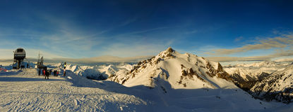 European Alps panorama. Winter scenics in the French Alps. Panoramic mountain view on Les Arcs Ski Resort, France Stock Image
