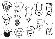 European, american and asian chefs in toques Royalty Free Stock Photo