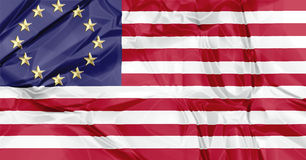 European and American flags united Stock Image