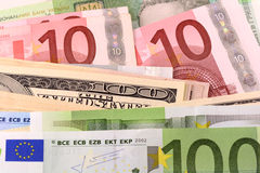 European and american money background Royalty Free Stock Photography