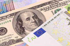 European and american money background Stock Photo