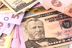 European and american money background Royalty Free Stock Image