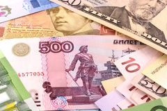 European and american money background Royalty Free Stock Photo
