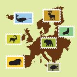 European animals. With Europe map Royalty Free Stock Photo