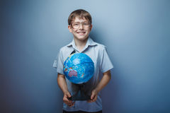 European appearance teenager boy with glasses Royalty Free Stock Photography