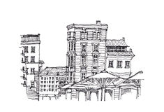 European architecture sketch doodle illustration Royalty Free Stock Photo